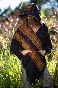 Unisex Hooded Black Poncho with Hood Cashmere Wool, Earthy Tribal Pattern Festival Gypsy AJJAYA Boho Primitive Nomadic Mexican pockets