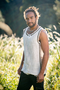 Mens Sleeveless Tank Top DHATU Cotton Shirt Slashed Open Sides Beige Semi See Through Breathable Tribal Gypsy Alternative Festival AJJAYA