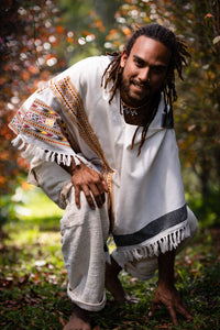 Mens Poncho Large Hood Yak Wool Pure White Tribal Embroidery Celtic Patterns Gypsy Alternative Wild Festival Rave Mexican Primitive AJJAYA