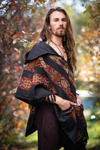 Mens Hooded Poncho Yak Wool Dark Grey Pockets Tribal Embroidery Celtic Gypsy Alternative Festival Rave Mexican Primitive Large Hood AJJAYA
