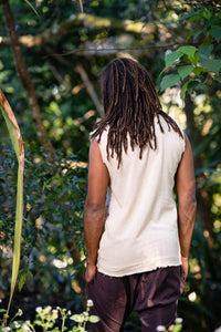 Neo SHIPIBO Beige Mens Gypsy Sleeveless Earthy Top T Shirt, Open Neck Tank Tribal Jungle Primitive Festival Rave AJJAYA Nomadic Primitive