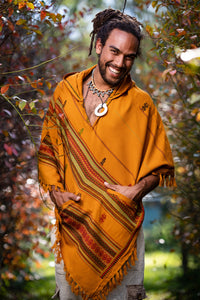 Mens Hooded Poncho Curry Orange Cashmere Wool Pockets Tribal Embroidery Celtic Gypsy Alternative Festival Mexican Primitive Big Hood AJJAYA