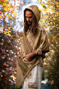 Mens Hooded Poncho Desert Sand Brown Cashmere Wool with Hood pockets, Earthy Tribal Celtic Festival Gypsy AJJAYA Mexican Primitive Nomadic
