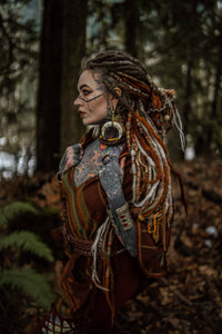 Hooded Wool Poncho Brown, Tribal Cashmere Embroidery Pockets Gypsy Fairy Boho Festival Alternative Funky Nomadic Primitive Hippie AJJAYA