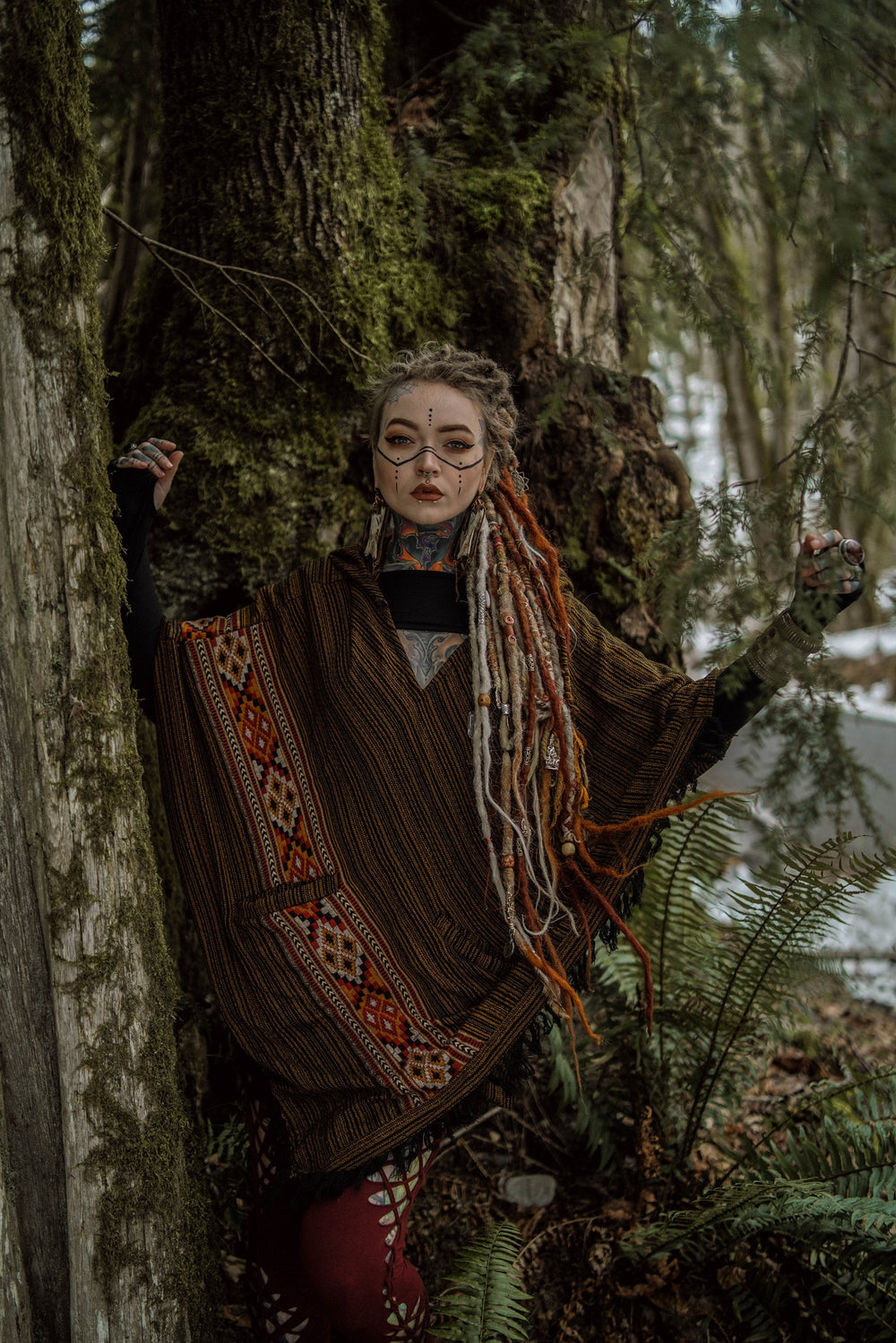 Hooded Wool Poncho Bronze, Tribal Cashmere Embroidery Pockets Gypsy Fairy Boho Festival Alternative Funky Nomadic Primitive Hippie AJJAYA