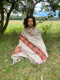 Handwoven BODHI Shawl Grey Meditation Prayer Blanket Cashmere Yak Wool Tibetan Lhasa Winter Warm Tribal Celtic Embroidery Boho Zen AJJAYA