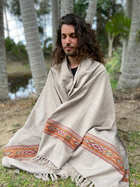 UPEKKHA Shawl Light Grey Handwoven Wool Meditation Prayer Scarf Wrap Blanket Cashmere Tibetan Warm Winter Zen Embroidery Boho AJJAYA