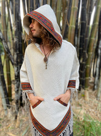 Mens Hooded Poncho Pixie Beige Vegan Cotton Handwoven Pockets Gypsy Boho Festival Hood Tribal Embroidery Elvish Native Mexican AJJAYA