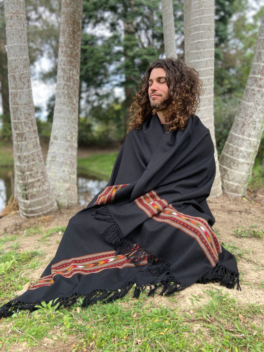 BHAVA Shawl Black Handwoven Wool Meditation Prayer Scarf Blanket Premium Pure Cashmere Tibetan Winter Tribal Zen Embroidery Boho AJJAYA
