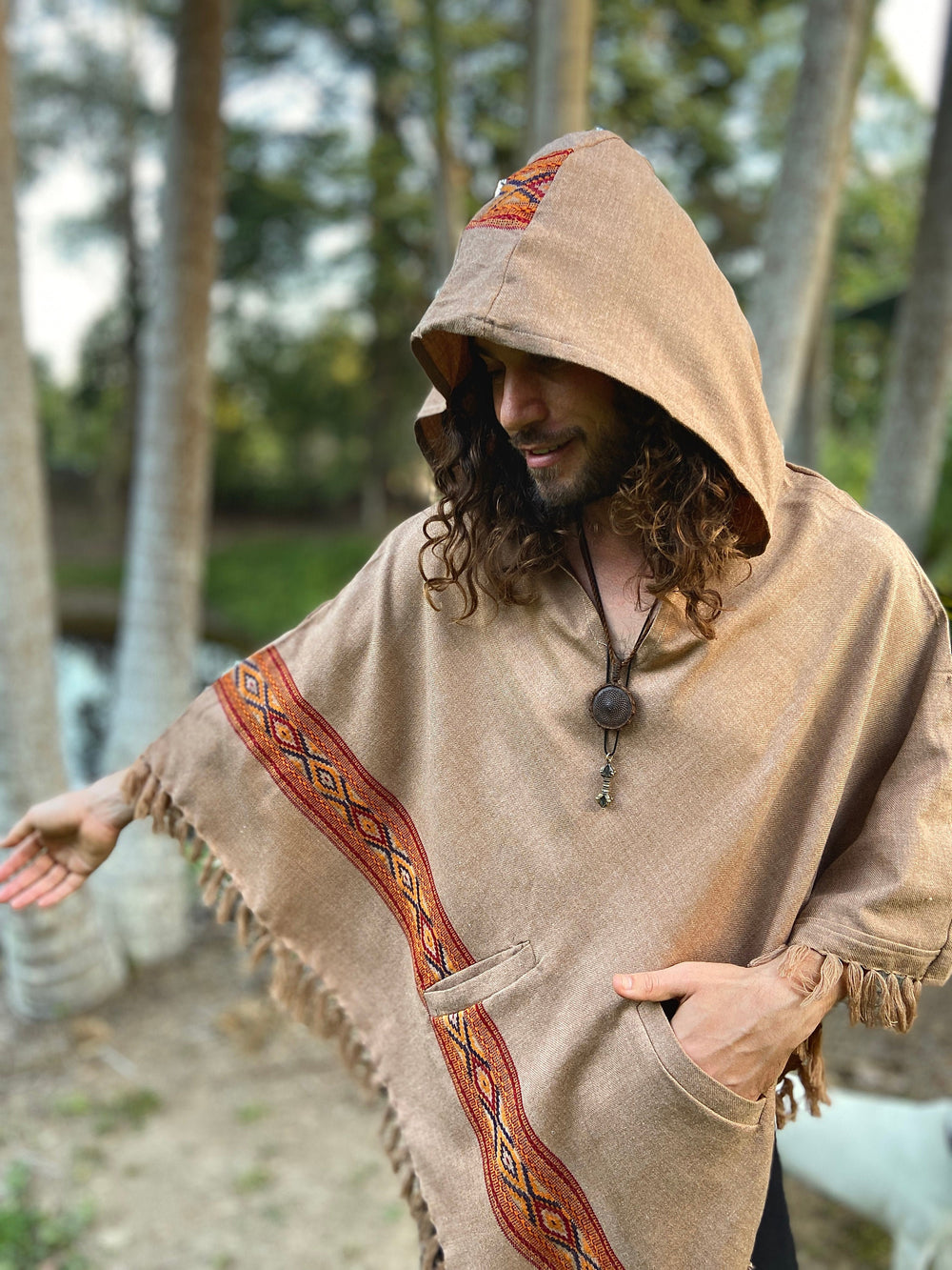 UPEKKHA Hooded Poncho with Hood Chai light Brown Handwoven Pockets Wool Cashmere Tibetan Winter Zen Embroidery Boho Primitive Mexican AJJAYA