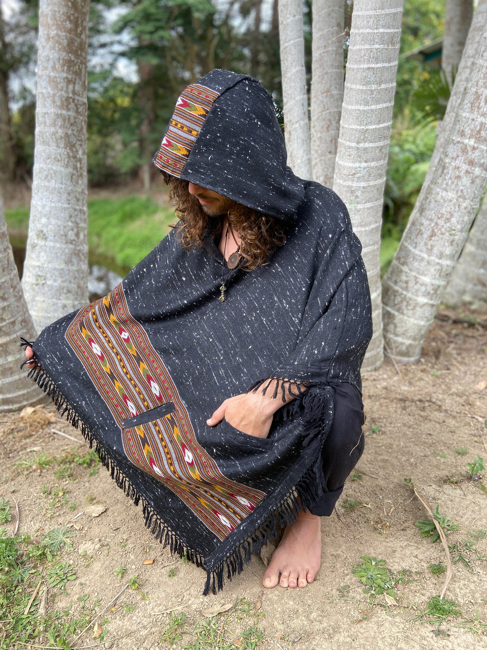 NAMA Hooded Poncho Dark Grey Black Handwoven Wool Premium Pure Cashmere Hood Zen Embroidery Boho Gypsy Festival Mexican Aztec Celtic AJJAYA