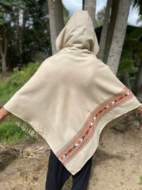 BHAVA Hooded Poncho Cream Beige Handwoven Wool Premium Pure Cashmere Hood Zen Embroidery Boho Gypsy Festival Mexican Aztec Celtic AJJAYA