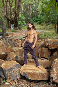 Mens Cotton Pants Brown Drop Crotch Harem Alibaba Yoga Comfortable Breathable One Size Loose Fit Festival Boho Hippie Natural Earthy AJJAYA