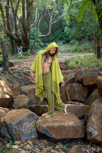 ANAGAMI Light Green Hooded Kimono Cape Poncho Robe Block Printed Natural Dyed Ceremony Ritual Shaman Tribal Alchemy Sacred Shawl Wrap AJJAYA