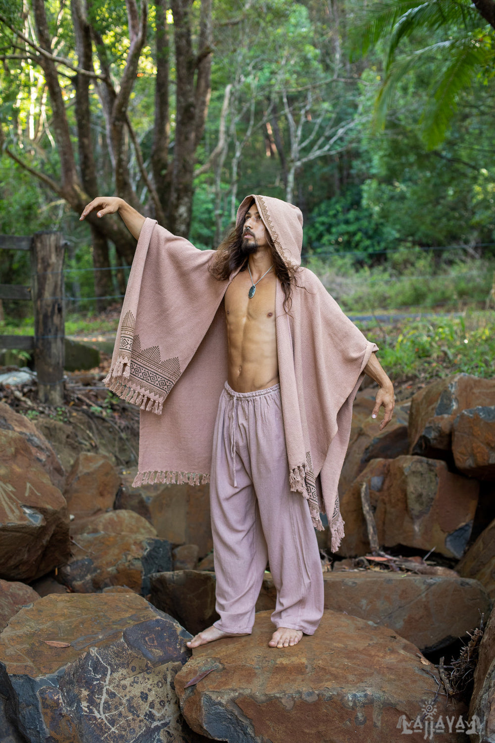 ANAGAMI Salmon Pink Hooded Kimono Cape Poncho Robe Block Printed Natural Dyed Ceremony Ritual Shaman Tribal Alchemy Sacred Shawl AJJAYA