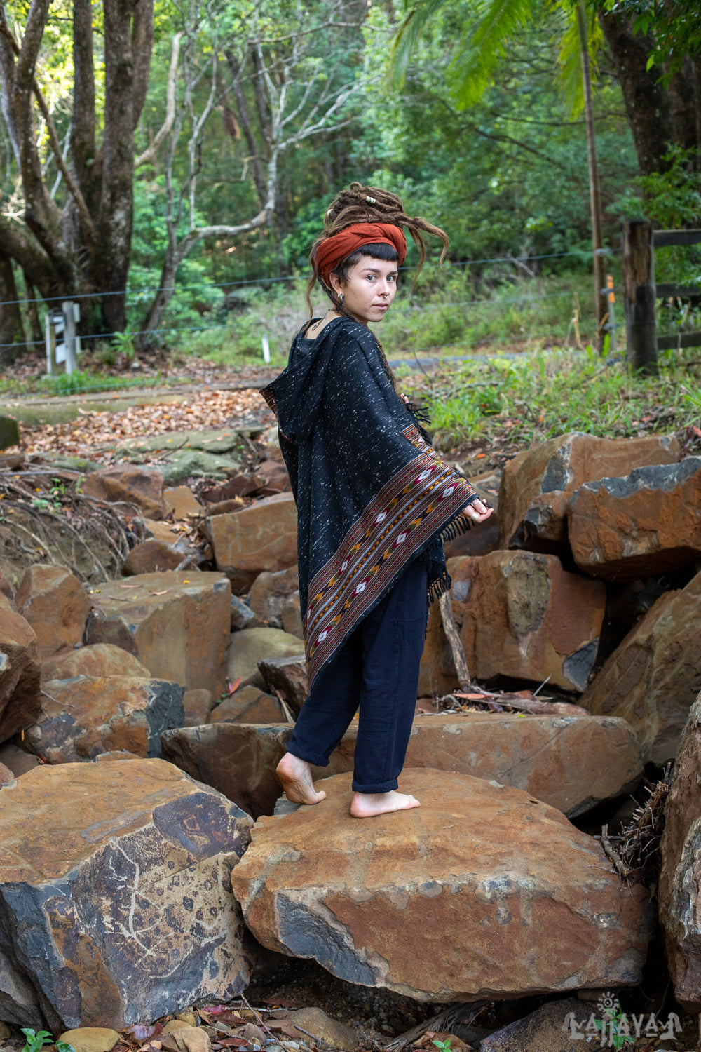 NAMA Hooded Poncho Black and Grey Handwoven Wool Premium Pure Cashmere Hood Zen Embroidery Boho Gypsy Festival Mexican Aztec Celtic AJJAYA