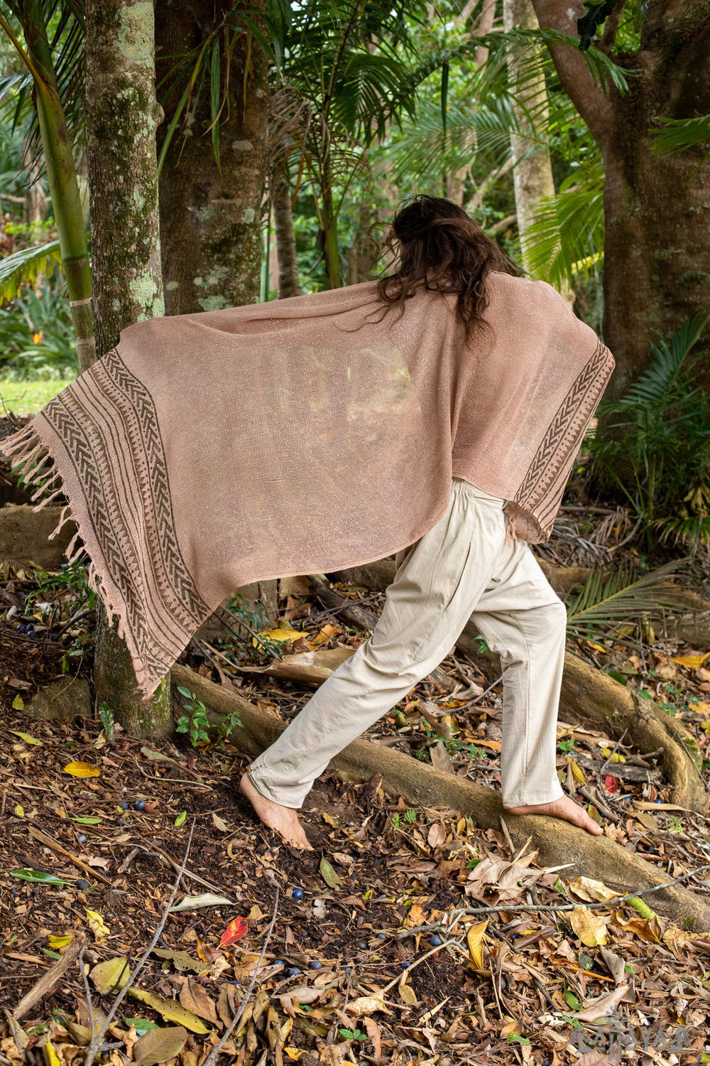 BREEZE Pink Handwoven Cotton Scarf Sarong Dreads Hairband Naturally Dyed Wrap Block Printed Breathable Festival Gypsy Tribal Savage AJJAYA