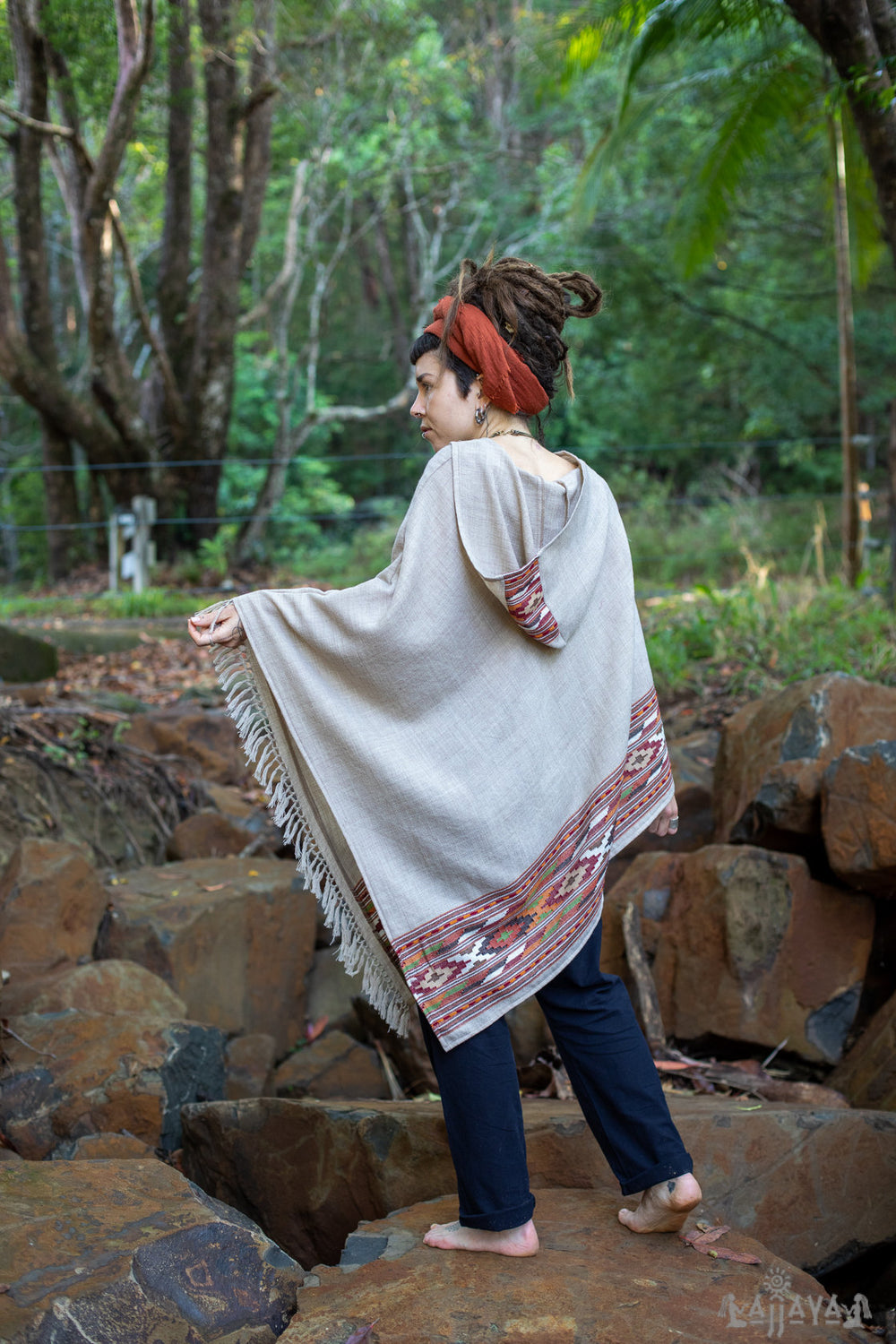 Karuna Light Grey Womens Poncho Handwoven Wool Premium Pure Cashmere Winter Zen Embroidery Boho Gypsy Festival Mexican Aztec Celtic AJJAYA