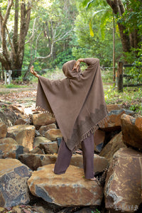 ANAGAMI Brown Hooded Kimono Cape Poncho Robe Block Printed Natural Dyed Ceremony Ritual Shaman Tribal Alchemy Sacred Shawl Wrap Rave AJJAYA