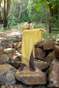 ANAGAMI Mustard Yellow Hooded Kimono Cape Poncho Robe Block Printed Natural Dyed Ceremony Ritual Shaman Tribal Alchemy Sacred Shawl AJJAYA