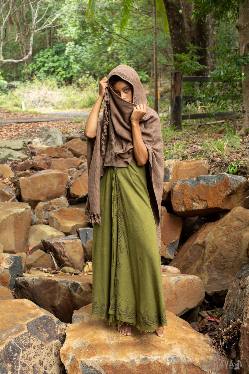 Brown ANAGAMI Hooded Kimono Cape Poncho Robe Block Printed Natural Dyed Ceremony Ritual Shaman Tribal Alchemy Sacred Shawl Wrap Rave AJJAYA