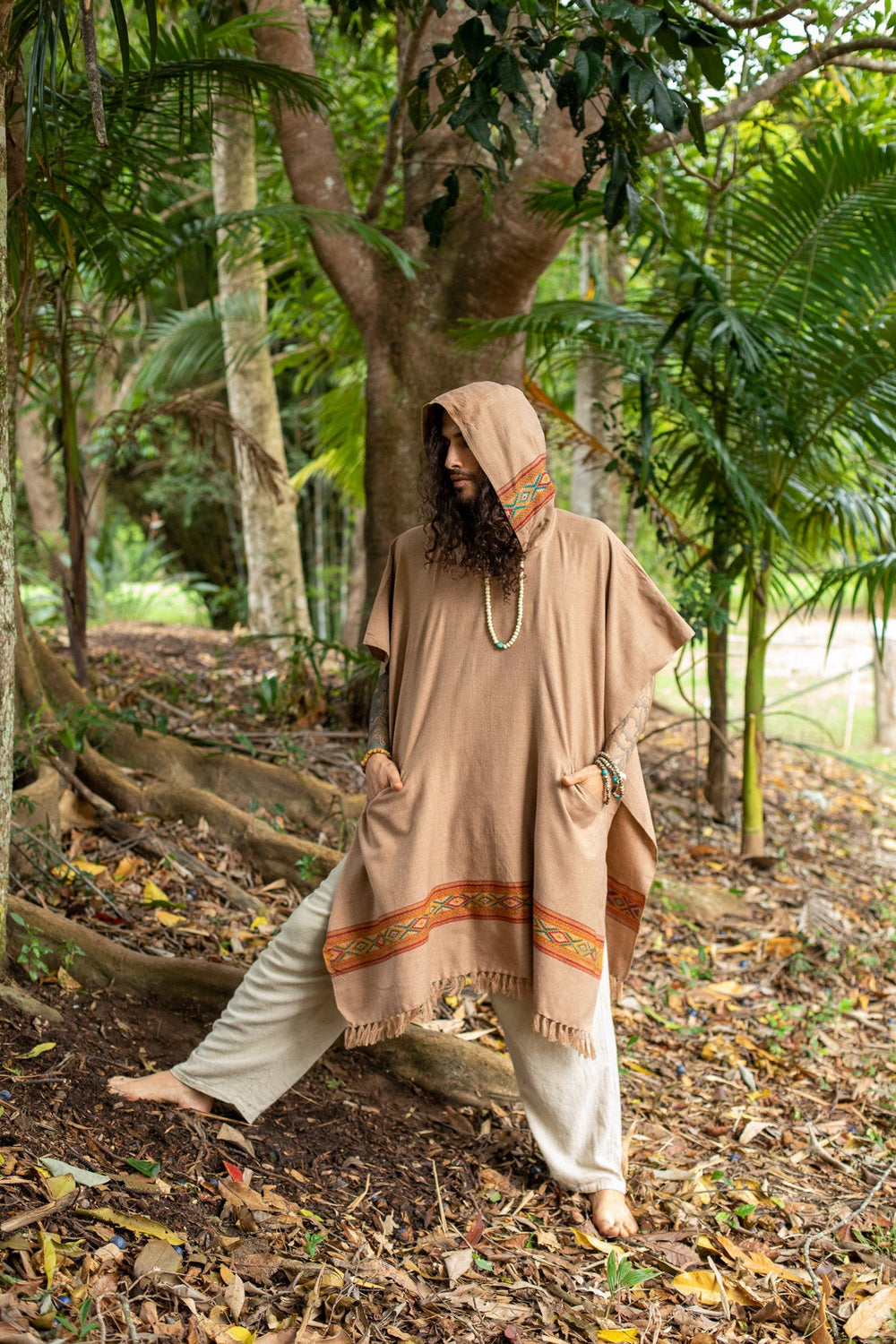 UPEKKHA Brown Mens Hooded Poncho Long Cashmere Wool with Tribal Embroidery, Large Hood, Pockets, Hippie, Primitive, Gypsy, Boho, AJJAYA