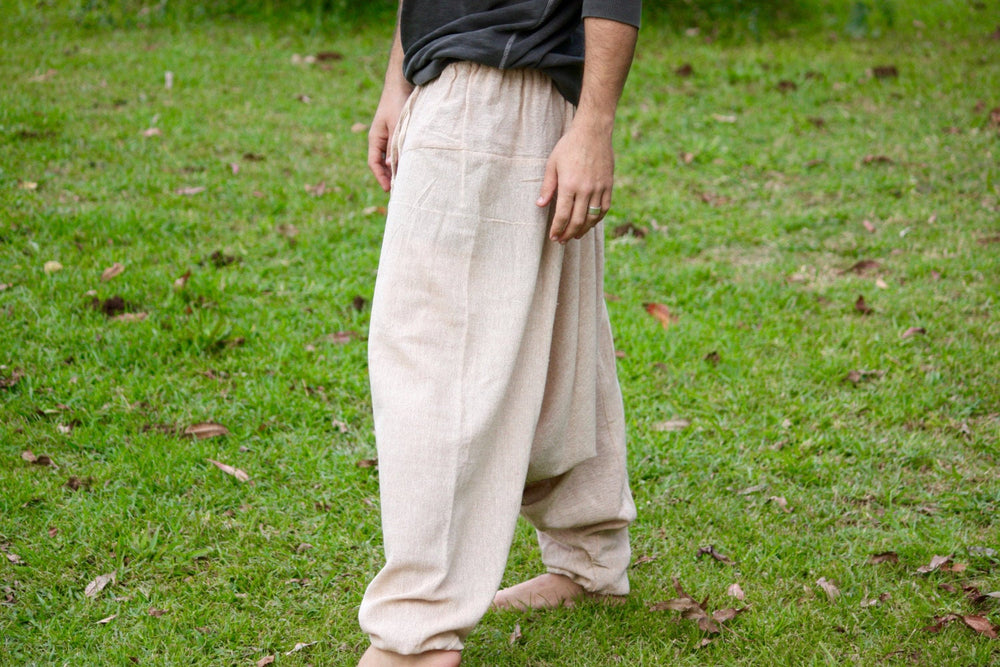 Handmade Aladdin Mens Ashtanga Harem Alibaba Yoga Afghani Pants, Hemp Chai BeigeColour with pocket trousers comfortable tai chi kong fu