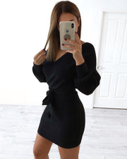 Short Venice Knit Dress - Black