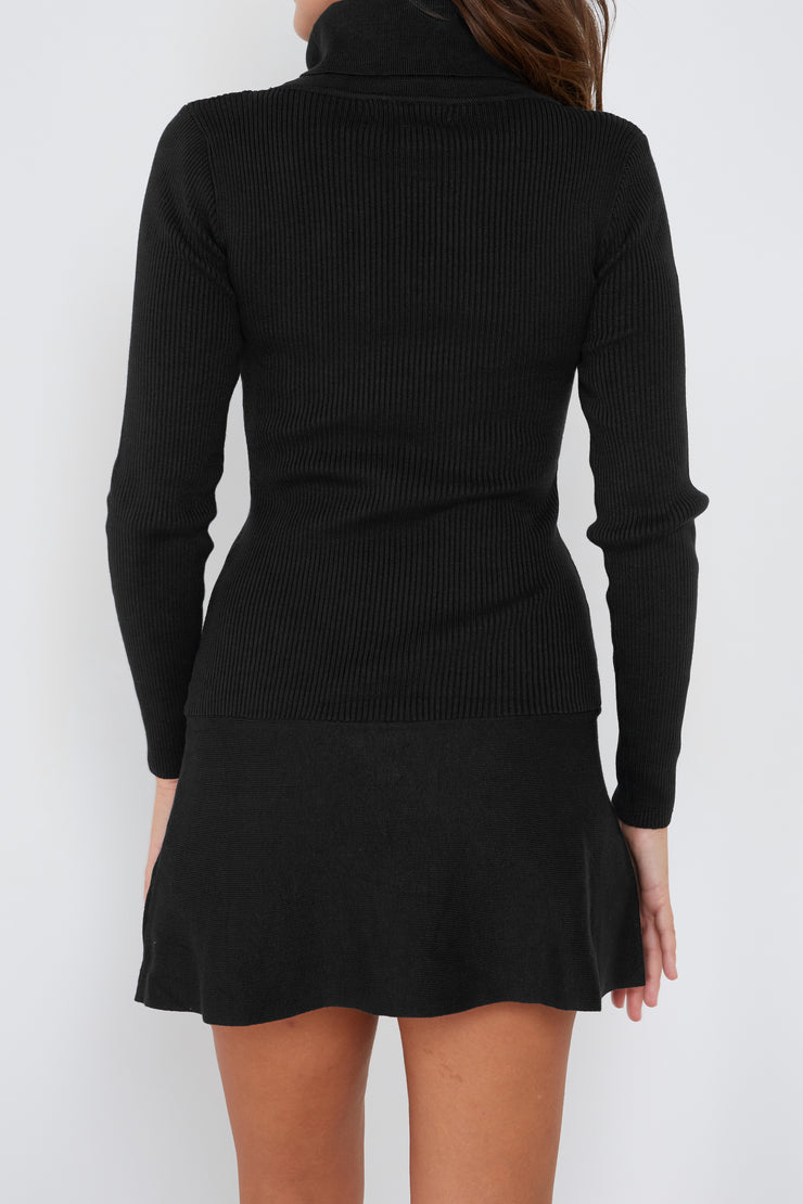 A Line Turtle Neck Knit Dress - Milan The Label