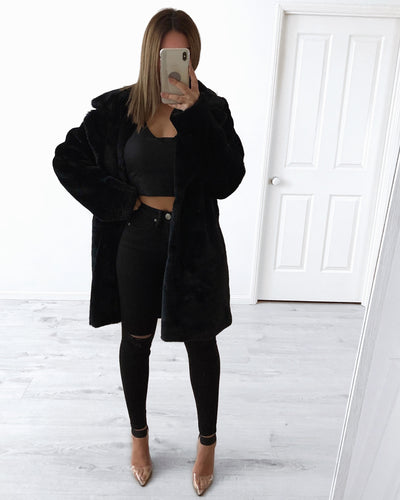 Long Fur Jacket - Black | Australia Women's Online Fashion Clothing | Milan The Label
