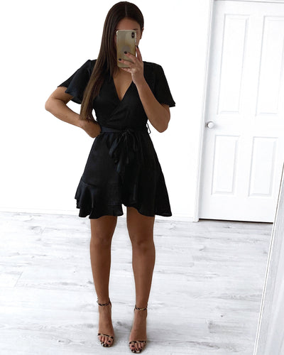Heart Wrap Dress - Black