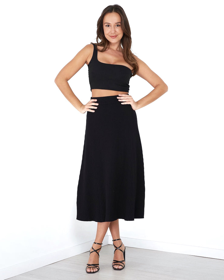 Ribbed One Shoulder Crop - Black - Milan The Label