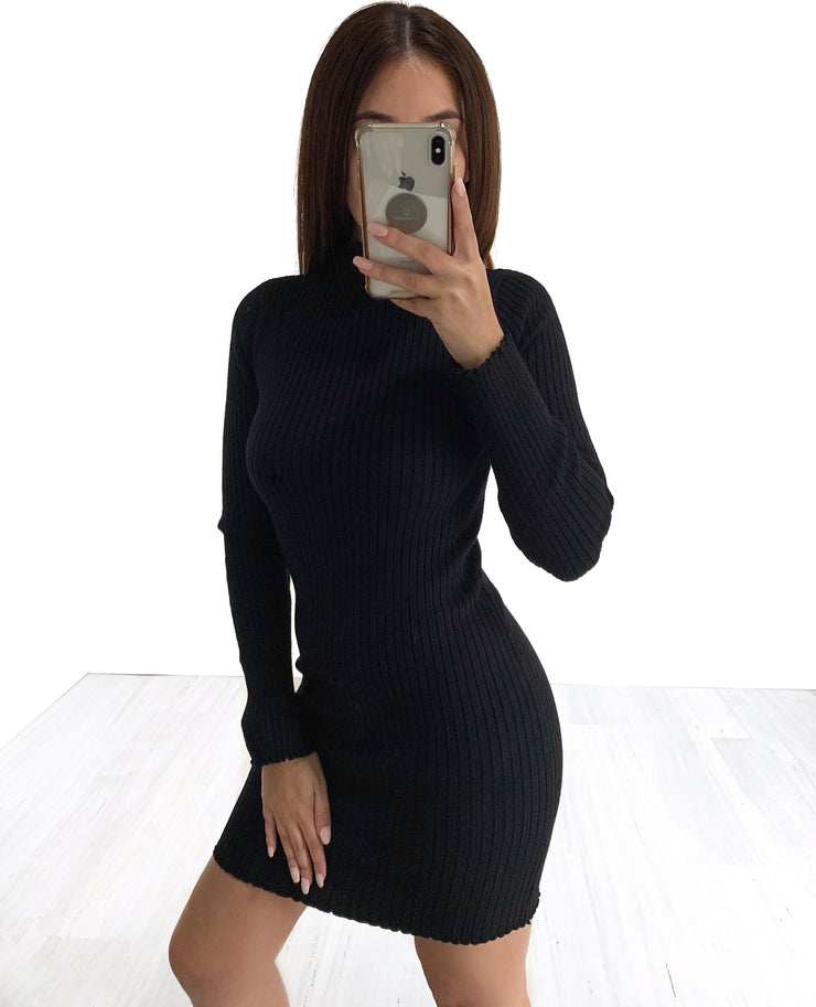 Mella Crew Neck Knit Dress - Black | Australia Women's Online Fashion Clothing | Milan The Label