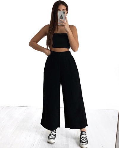 China Pants - Black Linen Look | Australia Women's Online Fashion Clothing | Milan The Label