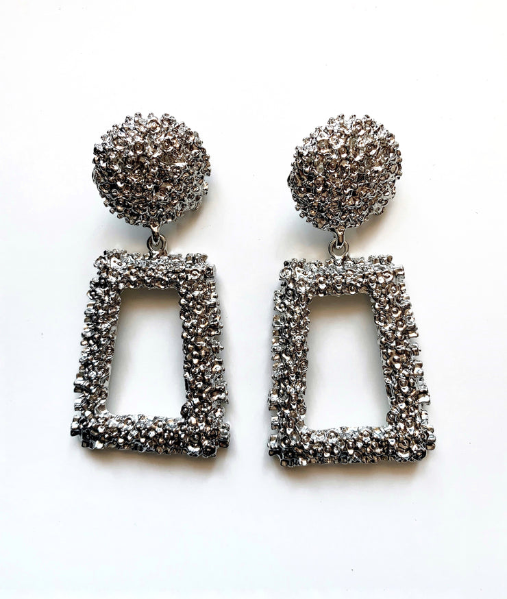 Eve Square Earrings - Silver | Australia Women's Online Fashion Clothing | Milan The Label
