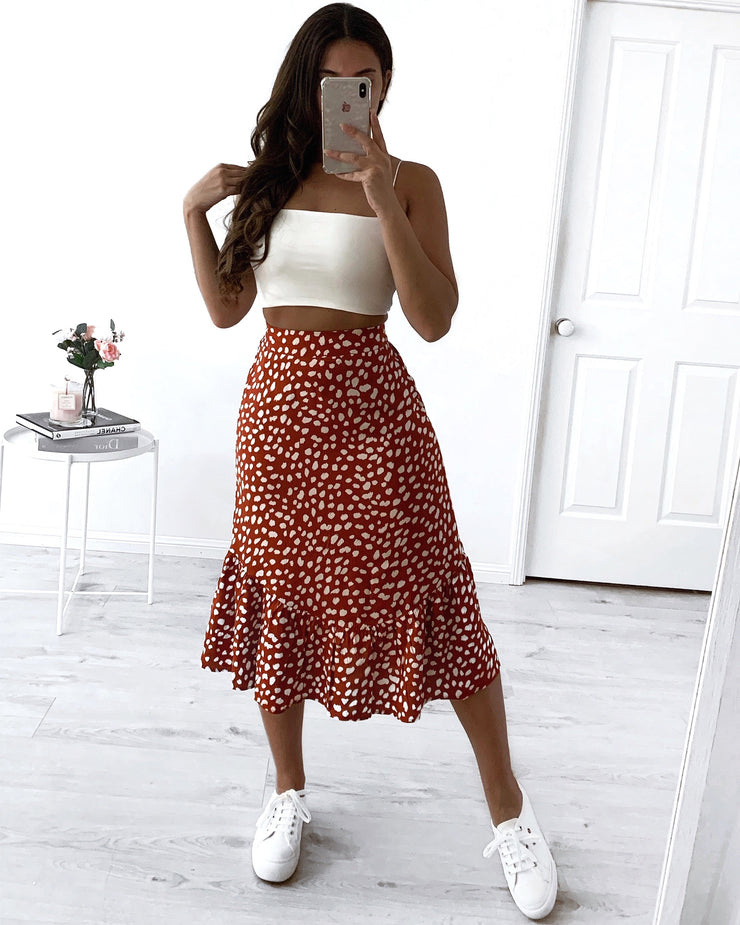 Georgia Skirt - Rust Print