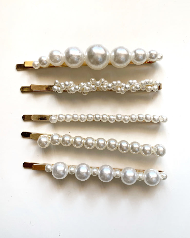 Pearl Hair Clip Round - Set - Milan The Label