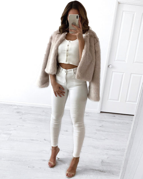 Fur collarless Jacket - Beige
