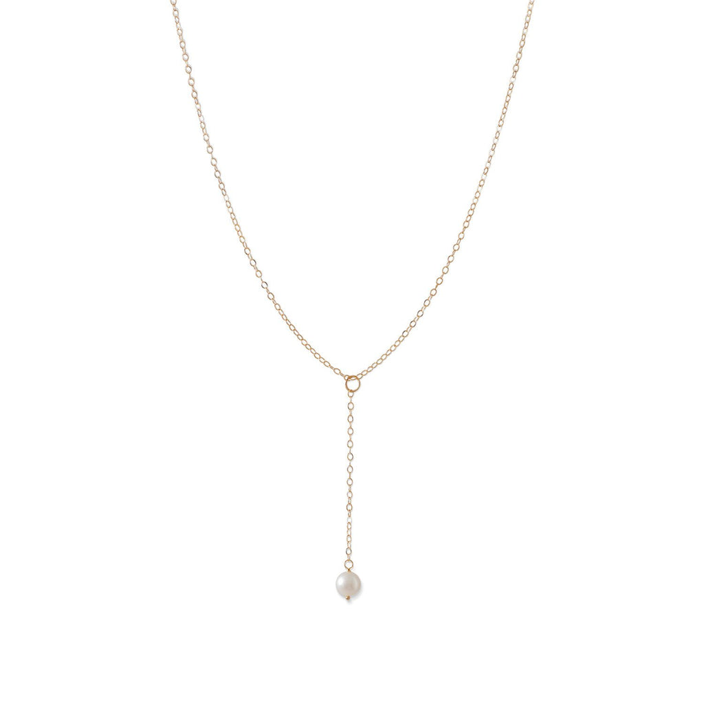 14 Karat Gold Chain and Cultured Freshwater Pearl Drop Necklace