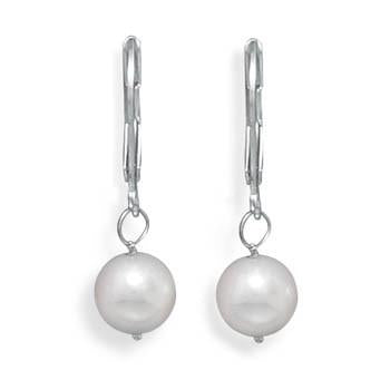 Grade AAA 7.5-8mm Cultured Akoya Pearl Drop Earrings with White Gold Lever Backs