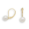 6.5-7mm Cultured Freshwater Pearl Earrings with Yellow Gold Lever Cup