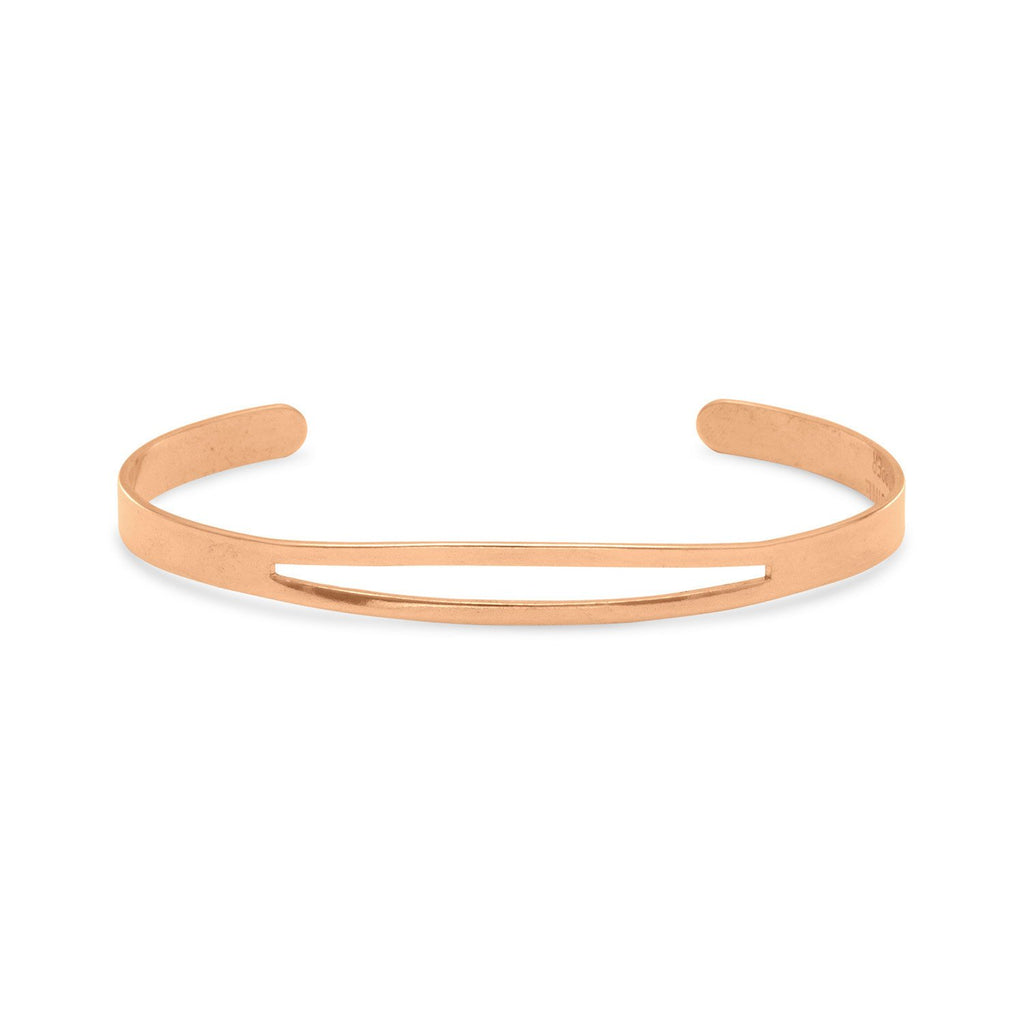 Solid Copper Cuff Bracelet with Cut Out Design Top