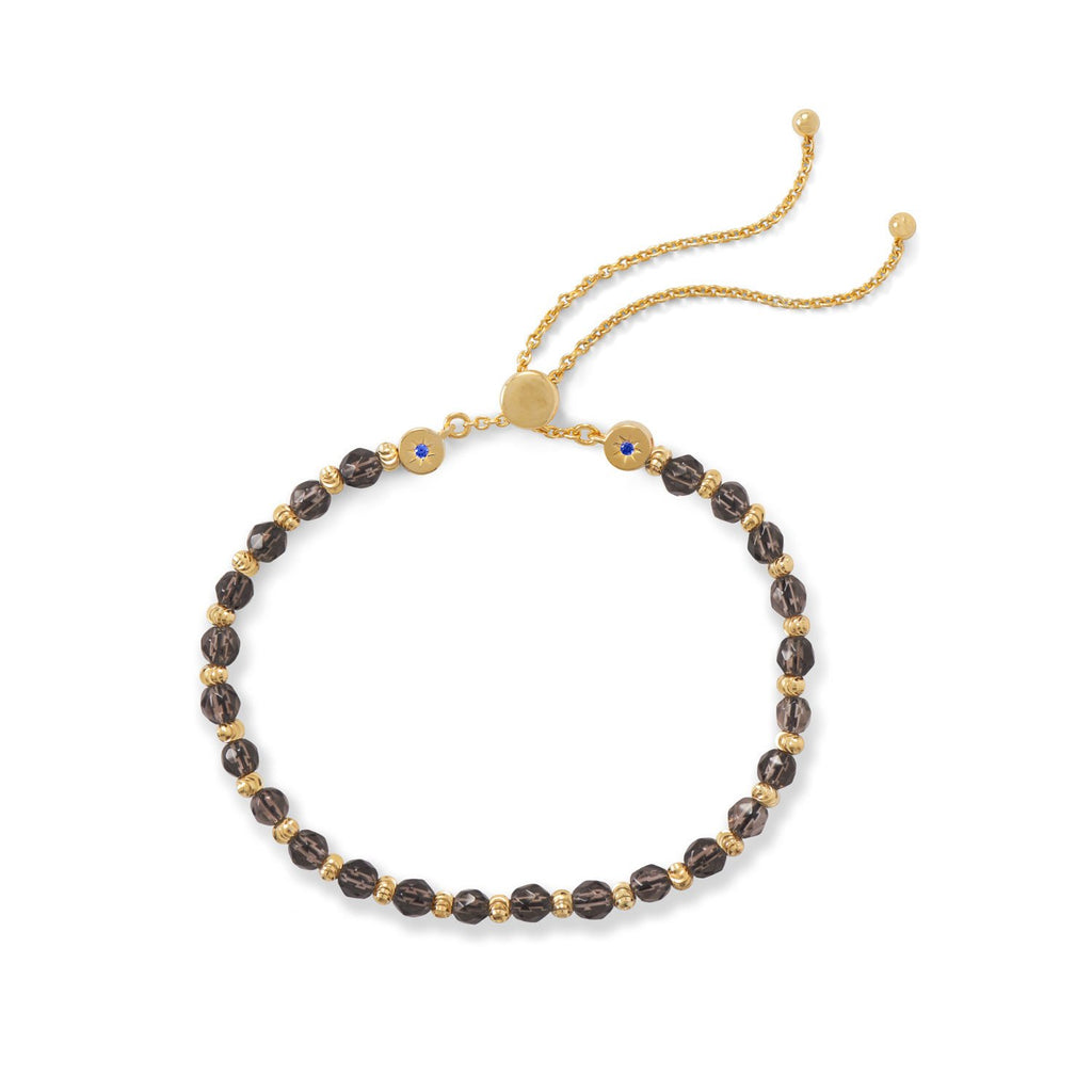 18 Karat Gold Plated Faceted Smokey Quartz Bolo Bracelet