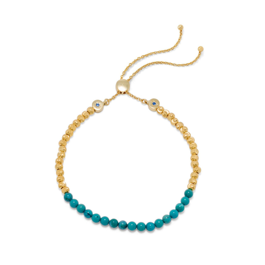 18 Karat Gold Plated Reconstituted Turquoise Bolo Bracelet