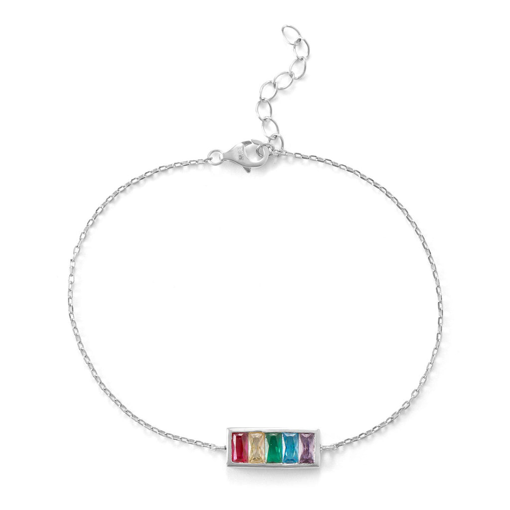 Rhodium Plated Rainbow Bar Bracelet