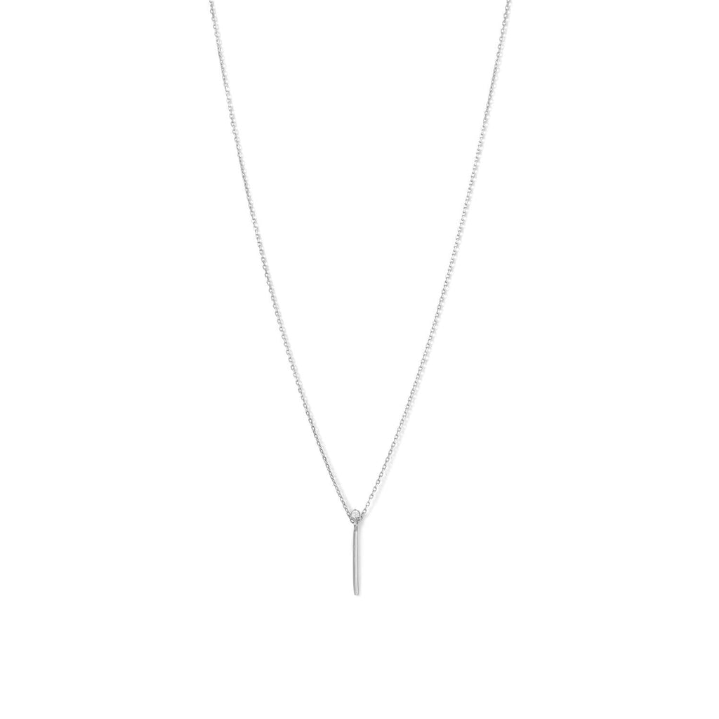 Rhodium Plated Vertical Bar and CZ Necklace