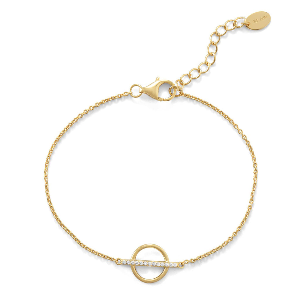 18 Karat Gold Plated CZ Bar and Circle Bracelet