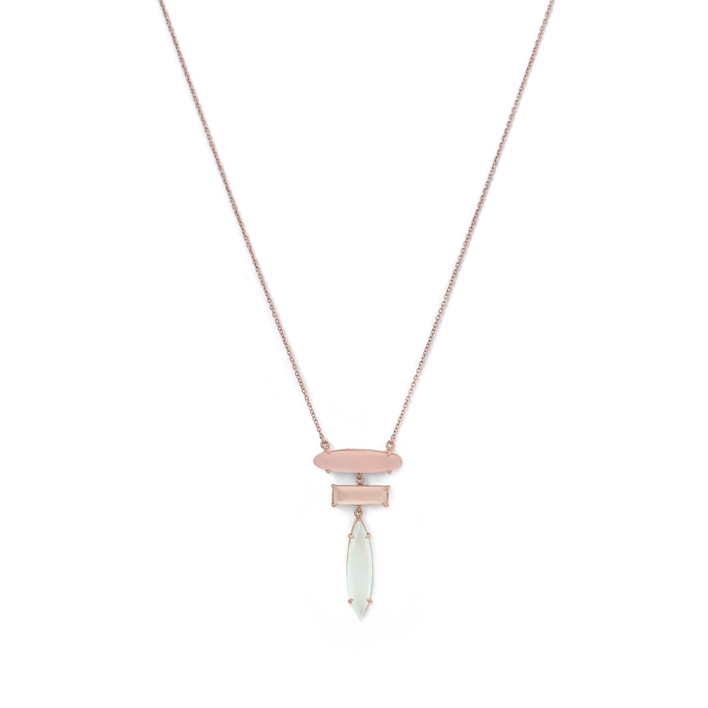 14 Karat Rose Gold Plated Prong Set Multi Gemstone Drop Necklace
