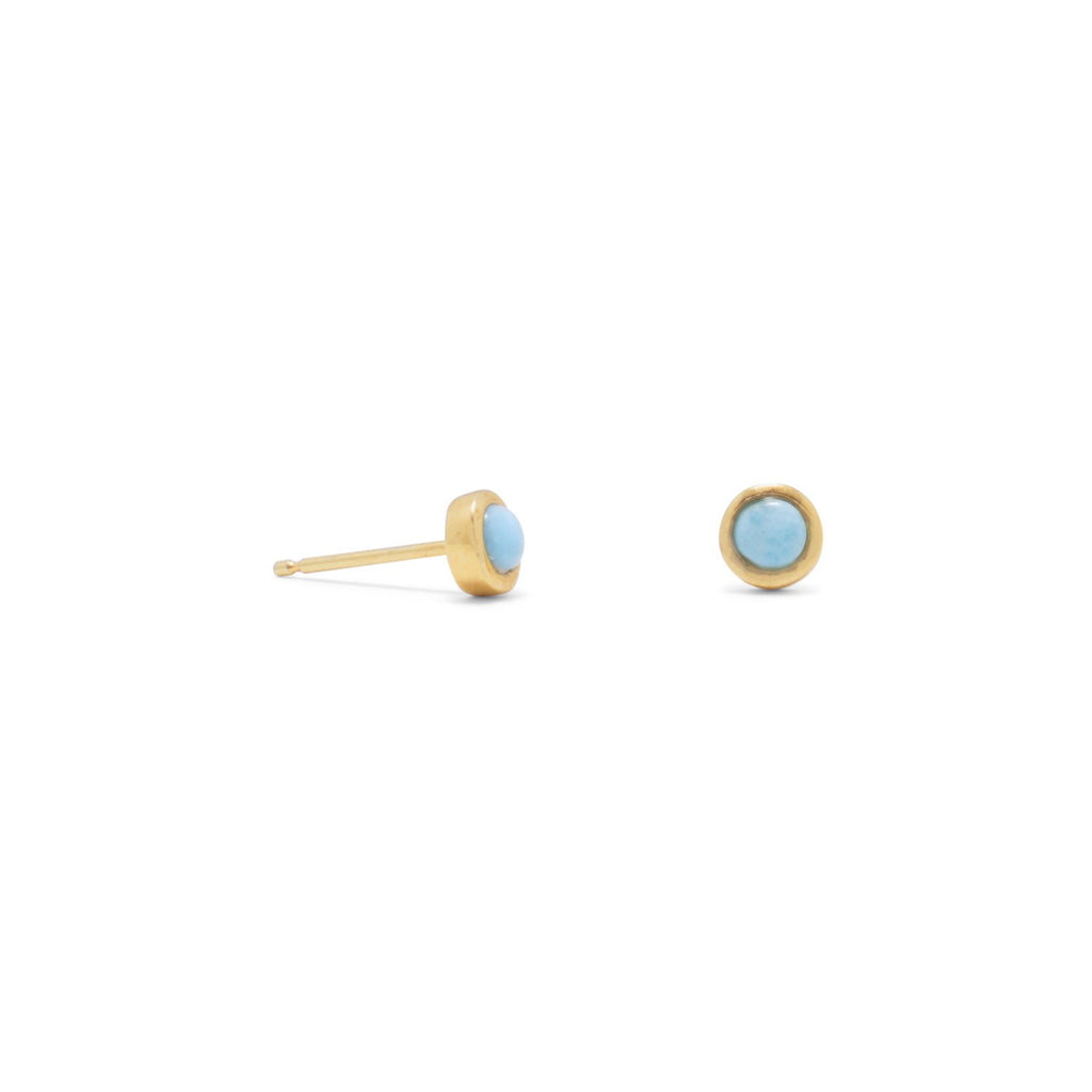 18 Karat Gold Plated Larimar Button Studs