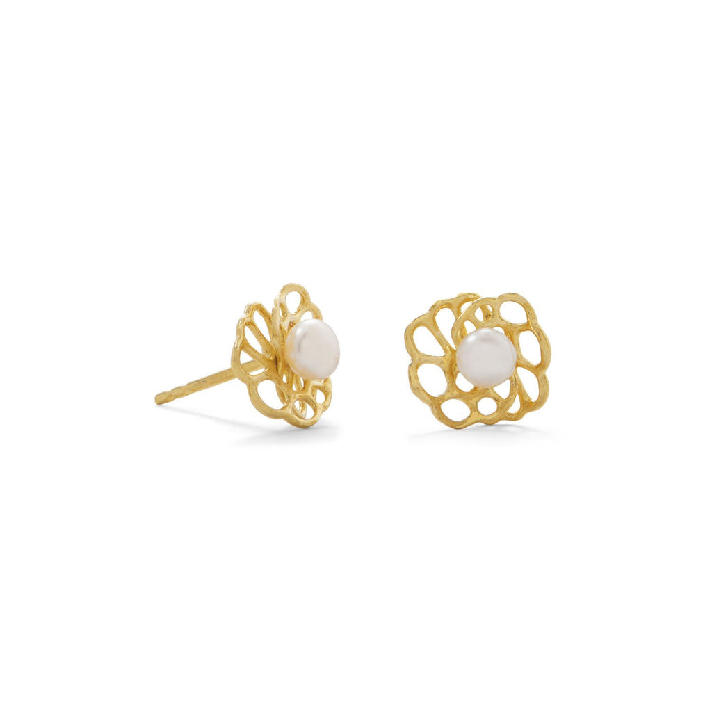 14 Karat Gold Plated Flower and Cultured Freshwater Pearl Design Stud Earrings